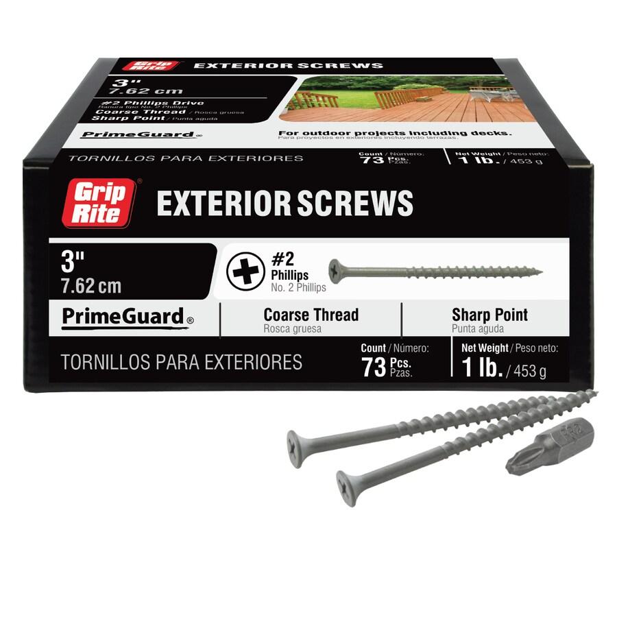 Grip Rite PrimeGuard Ten 1-lb Box #8 x 3-in Countersinking-Head Polymer-Coated Deck Screws