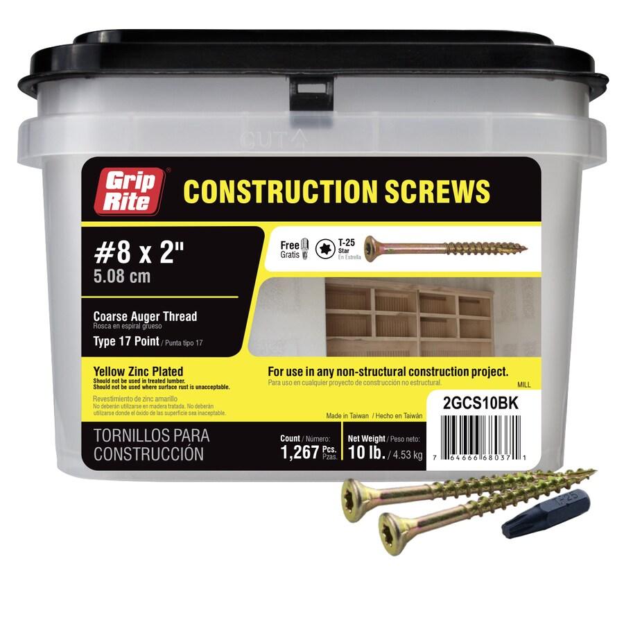 Grip-Rite 10-lb #8 x 2-in Bugle-Head Yellow Zinc Type 17 Star-Drive Interior Wood Screw