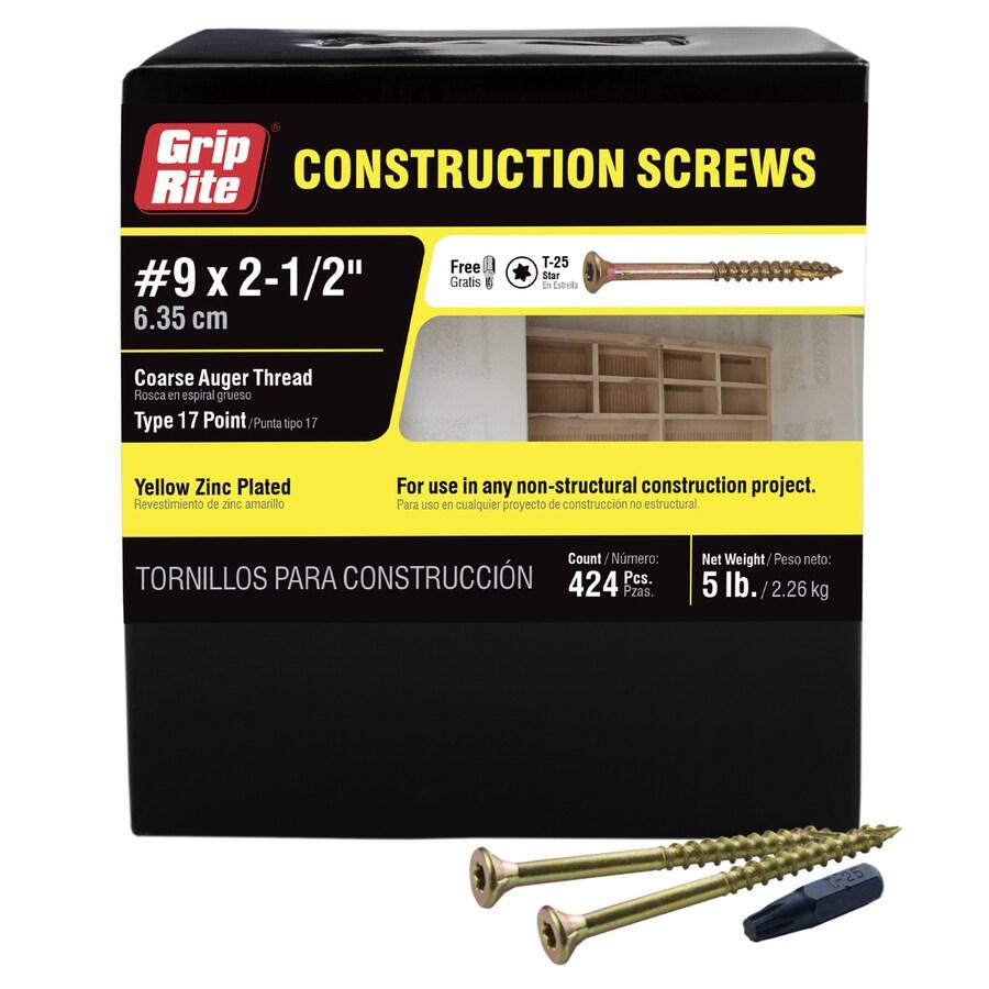 Grip-Rite 5-lb #9 x 2.5-in Bugle-Head Yellow Zinc Type 17 Star-Drive Interior Wood Screw