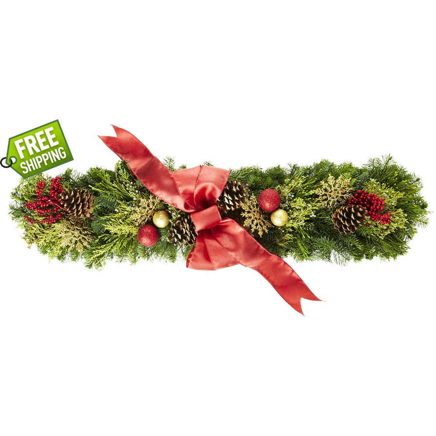 allen + roth Fresh-Cut Christmas Centerpiece with Pinecones and Ornaments
