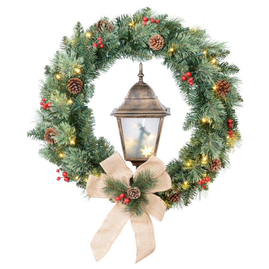 Shop holiday living 30 in pre lit indoor outdoor pine for Led wreath outdoor