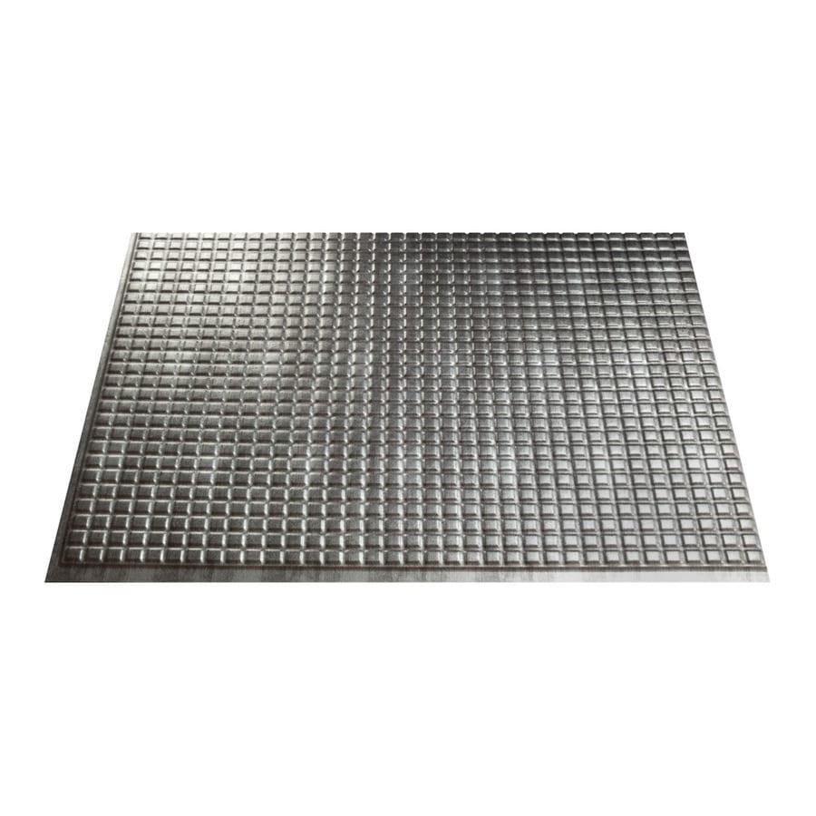 Fasade 18.5-in x 24.5-in Cross Hatch Silver Thermoplastic Multipurpose Backsplash