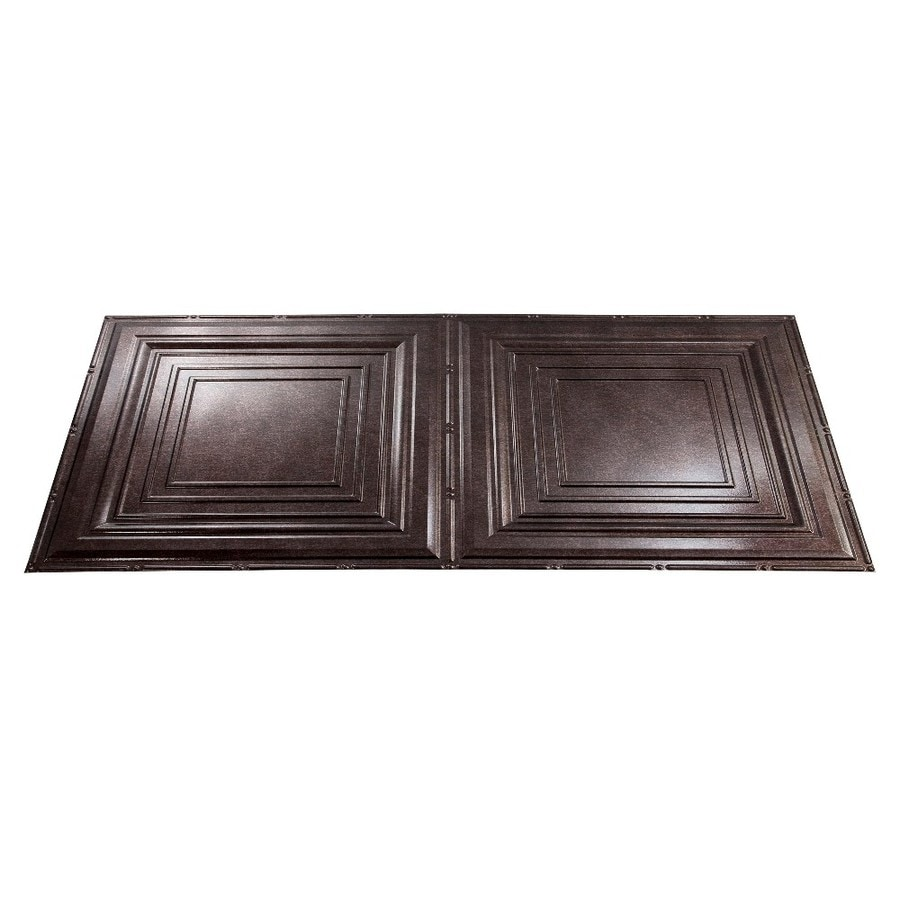 Fasade Smoked Pewter Faux Tin Surface-Mount Ceiling Tiles (Common: 48-in x 24-in; Actual: 48.375-in x 24.375-in)