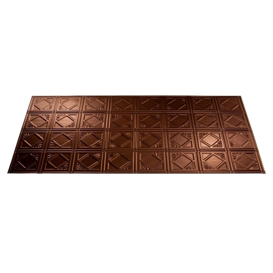Shop Fasade Oil-Rubbed Bronze Faux Tin Surface-Mount Ceiling Tiles (Common: 48-in x 24-in ...