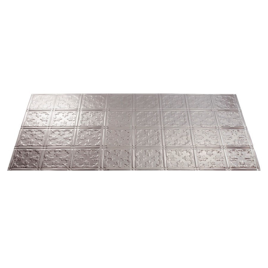 Fasade Brushed Aluminum Faux Tin Surface-Mount Ceiling Tiles (Common: 48-in x 24-in; Actual: 48.375-in x 24.375-in)