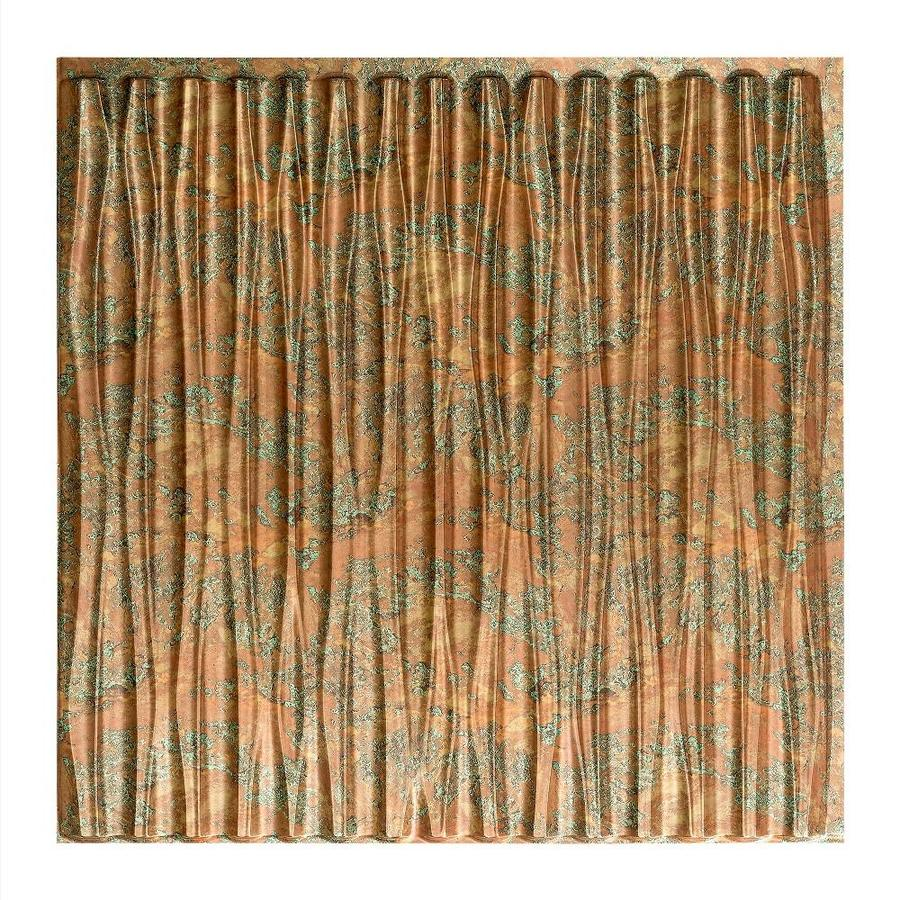 Shop Fasade Copper Fantasy Faux Tin Surface-Mount Ceiling Tiles (Common: 24-in x 24-in; Actual ...