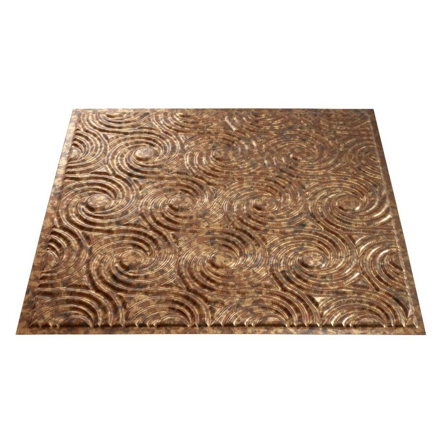 Fasade Cracked Copper Faux Tin Surface-Mount Ceiling Tiles (Common: 24-in x 24-in; Actual: 23-in x 23-in)
