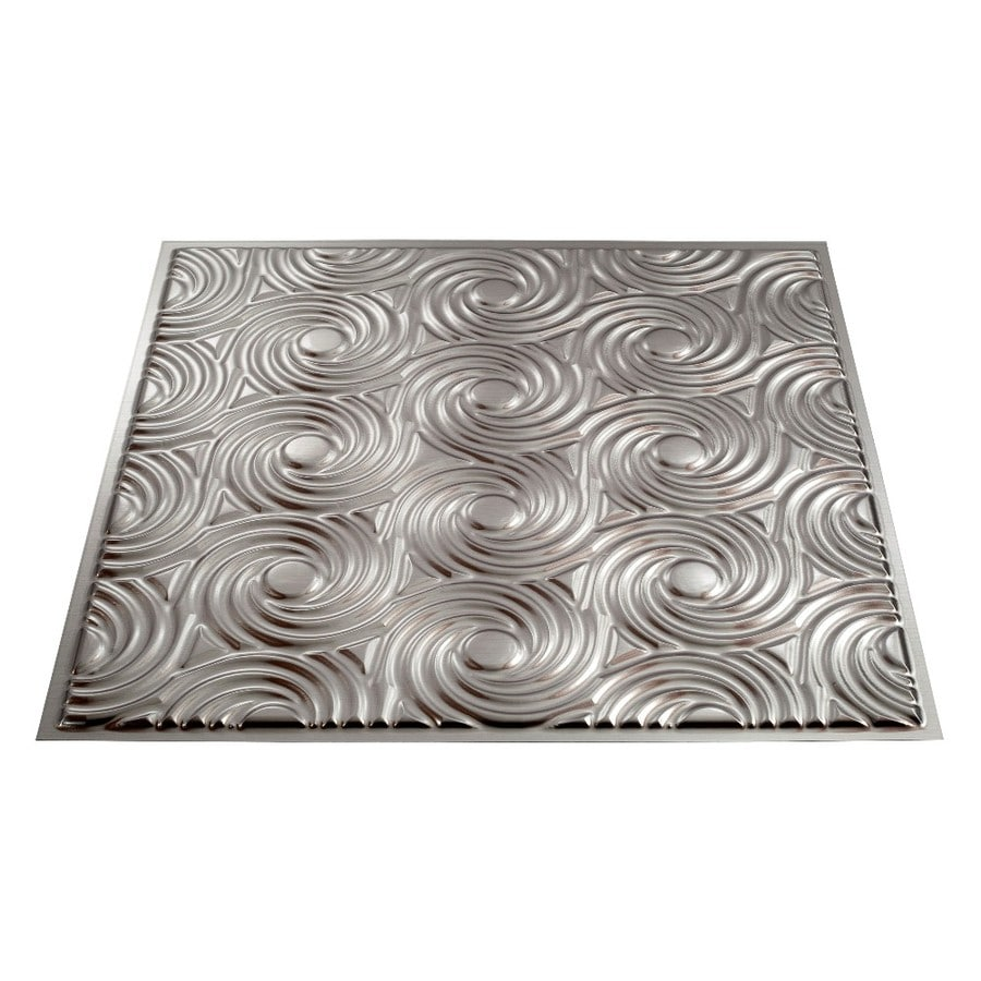 Shop Fasade Brushed Nickel Faux Tin Surface-Mount Ceiling Tiles (Common: 24-in x 24-in; Actual ...