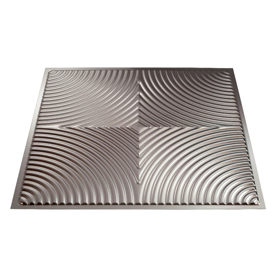 Fasade Brushed Aluminum Faux Tin Surface-Mount Ceiling Tiles (Common: 24-in x 24-in; Actual: 23-in x 23-in)