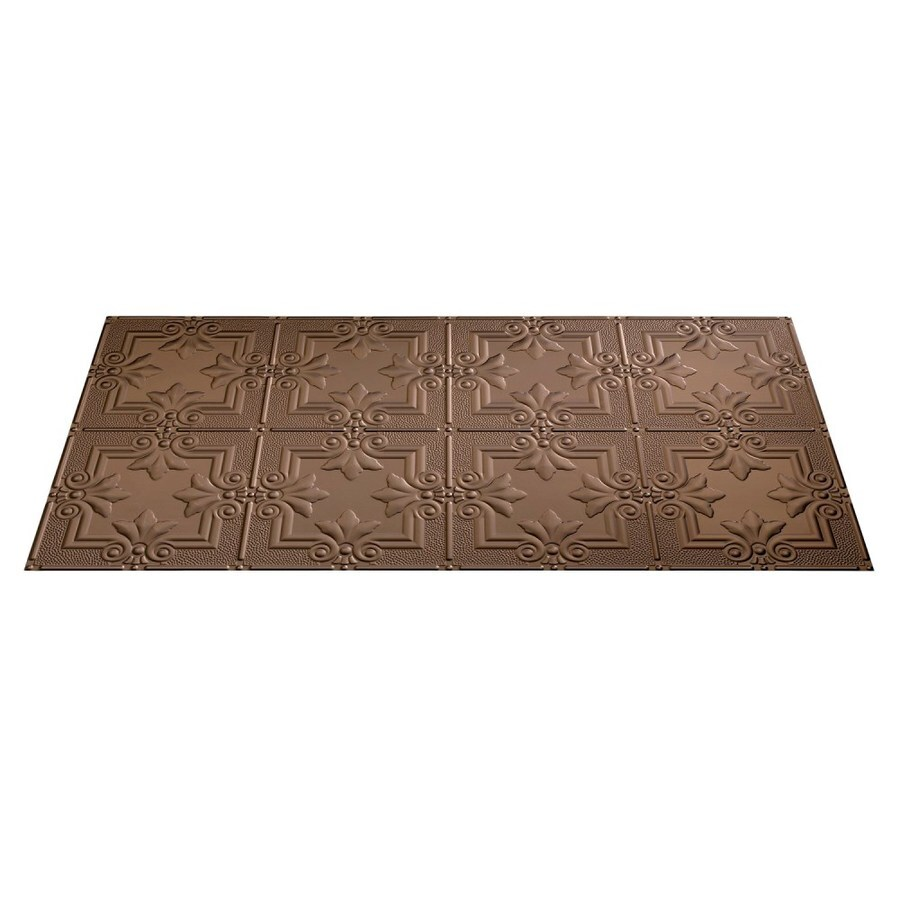 Fasade Argent Bronze Faux Tin Surface-Mount Ceiling Tiles (Common: 48-in x 24-in; Actual: 48.375-in x 24.375-in)