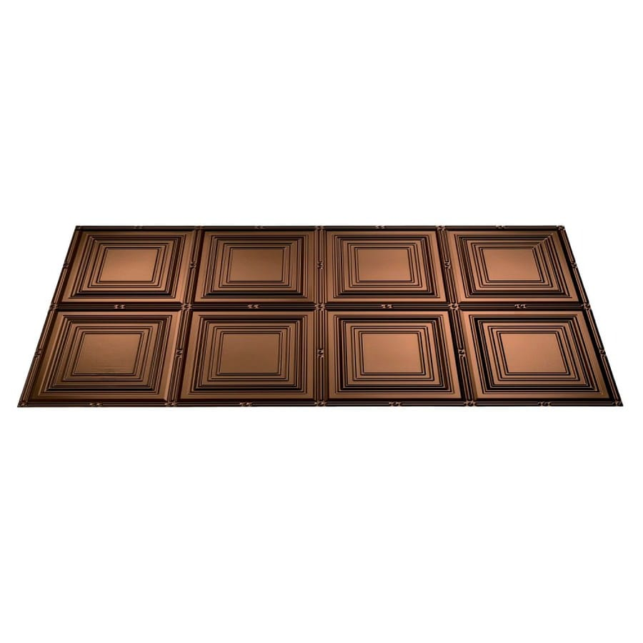 Fasade Oil-Rubbed Bronze Faux Tin Surface-Mount Ceiling Tiles (Common: 48-in x 24-in; Actual: 48.375-in x 24.375-in)