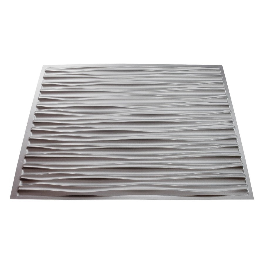 Fasade Argent Silver Faux Tin 15/16-in Drop Ceiling Tiles (Common: 24-in x 24-in; Actual: 23.75-in x 23.75-in)