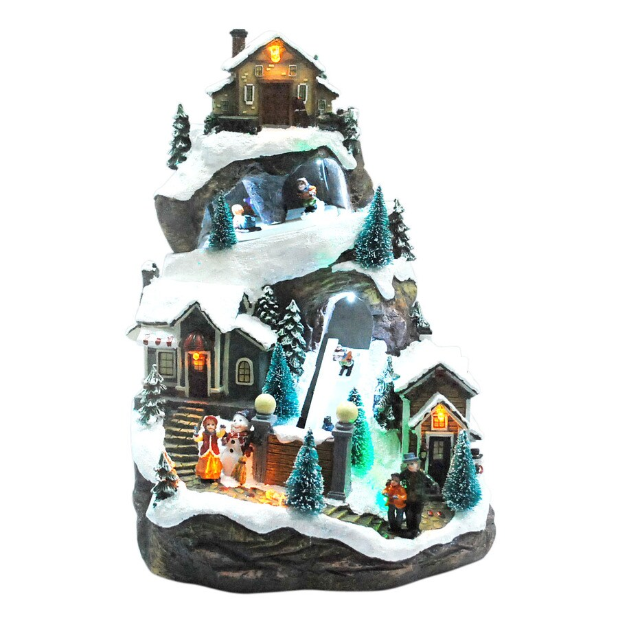 Holiday Living Christmas Resin Lighted Musical Sledding Village