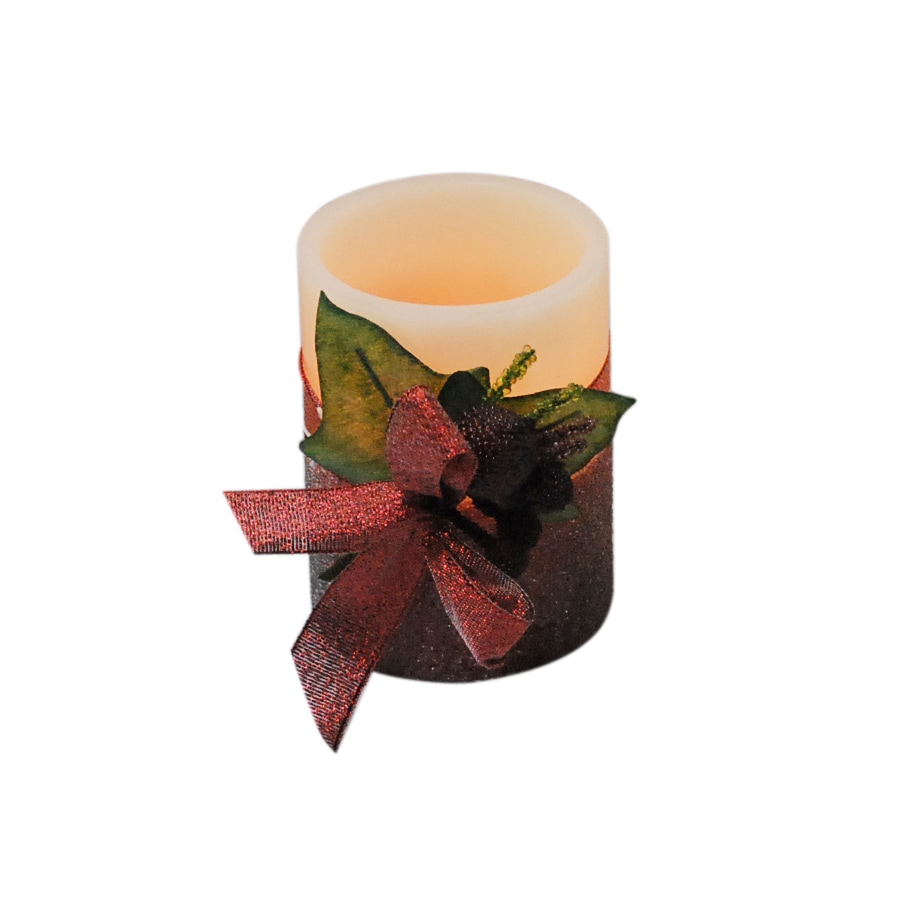 """Holiday Living 4"""" Cordless Indoor Red Glittered LED Pillar Candle"""