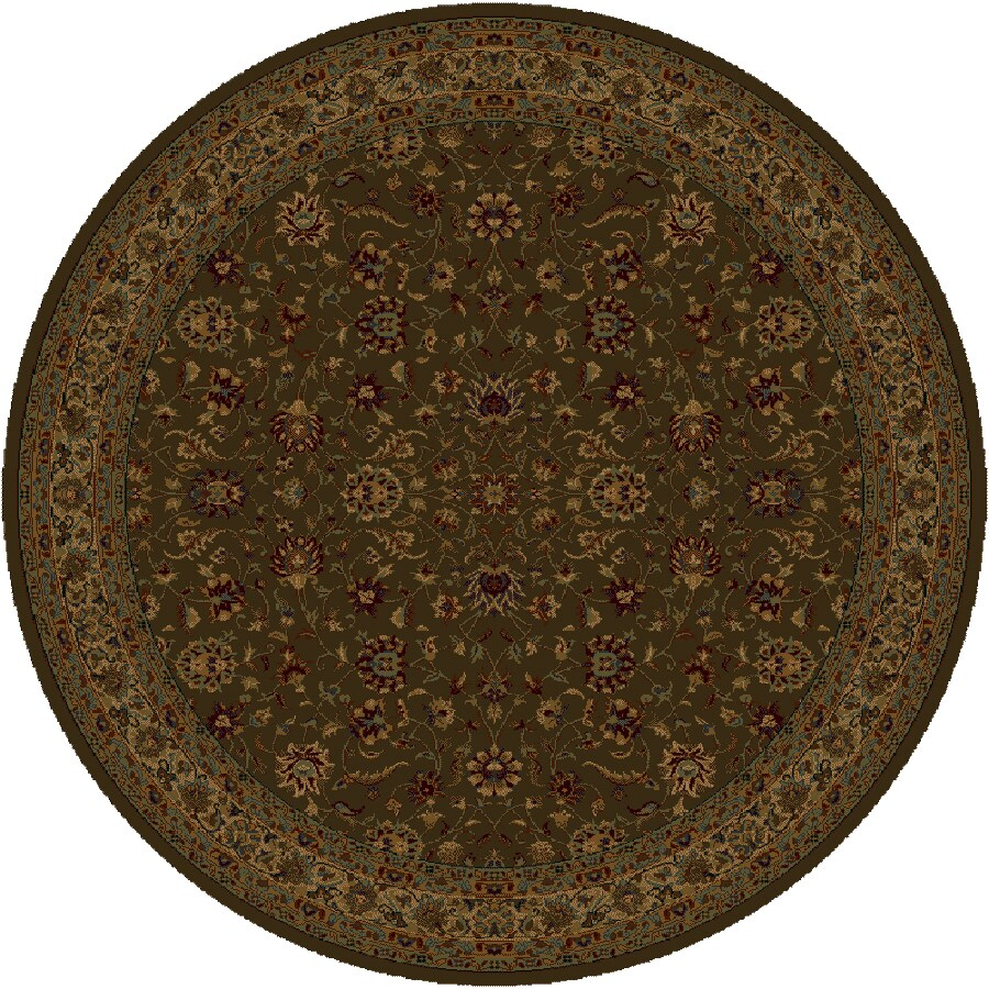 Shaw Living Palace Kashan 7-ft 7-in x 7-ft 7-in Round Brown Transitional Area Rug