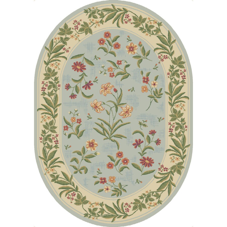 Shaw Living Summer Flowers Oval Blue Floral Area Rug (Common: 5-ft x 8-ft; Actual: 5-ft 5-in x 7-ft 8-in)
