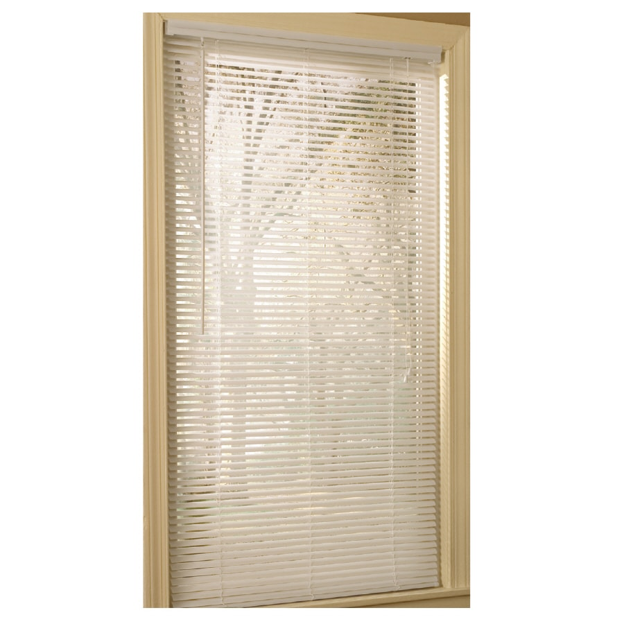 Project Source 1-in White Vinyl Light Filtering Mini-Blinds (Common 47-in; Actual: 46.5-in x 64-in)