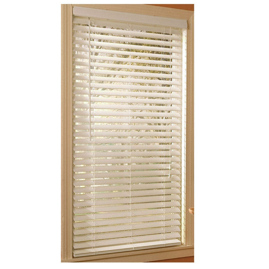 Style Selections 2-in White Etched Woodgrain Faux Wood Room Darkening Plantation Blinds (Common 23-in; Actual: 22.5-in x 64-in)