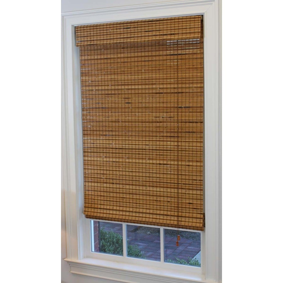 Style Selections 23-in W x 72-in L Pecan Light Filtering Bamboo Natural Roman Shade