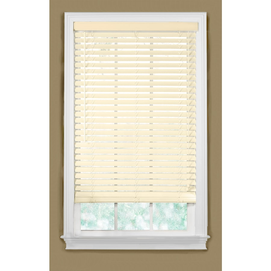 Style Selections 57-in W x 54-in L Alabaster Faux Wood Plantation Blinds