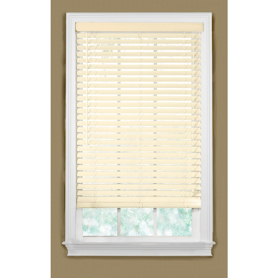 Style Selections 26.5-in W x 64-in L Alabaster Faux Wood Plantation Blinds