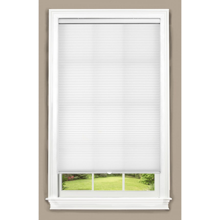 allen + roth 67-in W x 64-in L White Cordless Light Filtering Cellular Shade