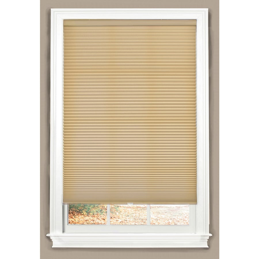 allen + roth 62.5-in W x 64-in L Linen Cordless Light Filtering Cellular Shade