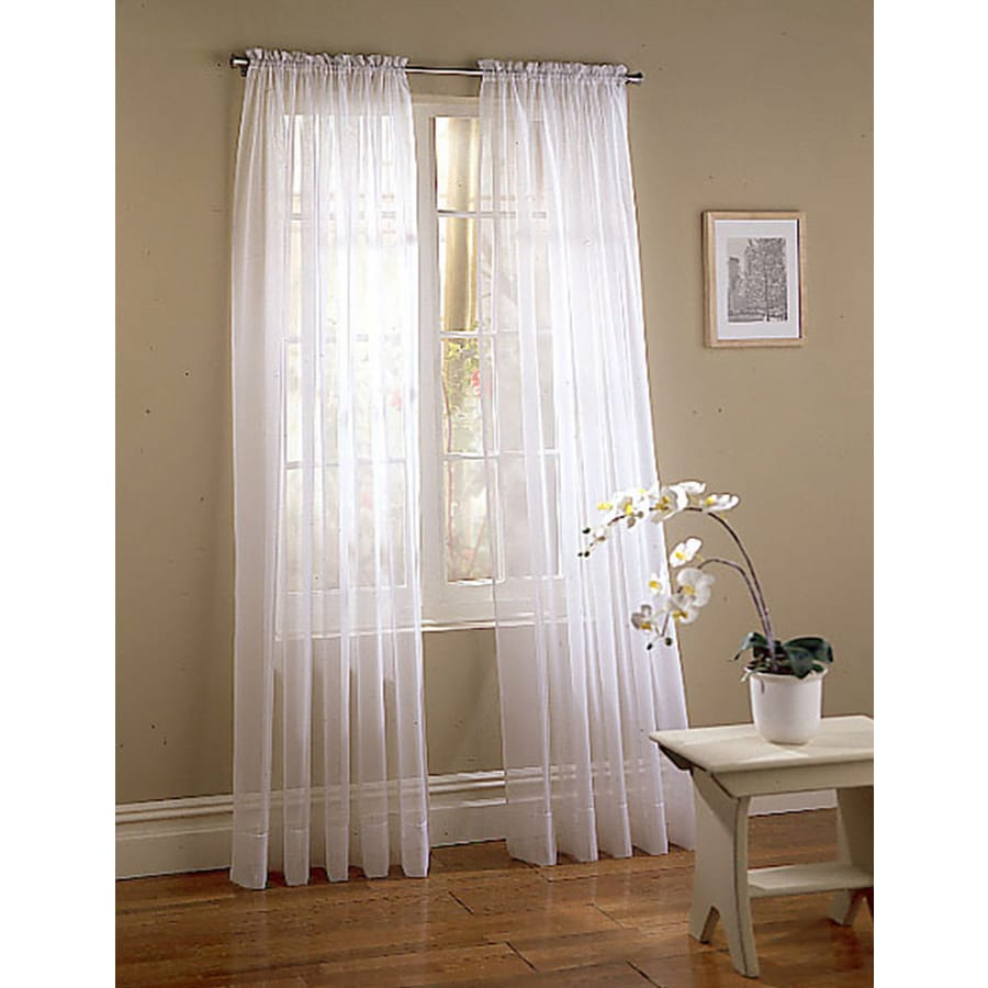 Style Selections High Twist Voile 63-in White Polyester Rod Pocket Light Filtering Sheer Single Curtain Panel
