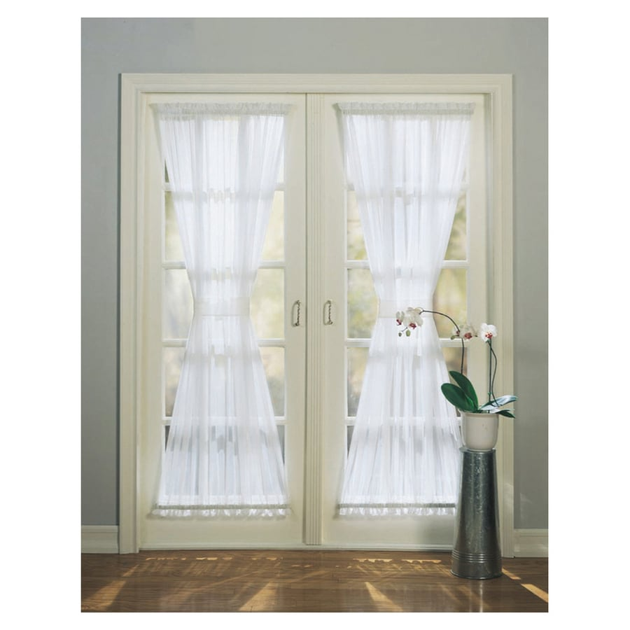 Style Selections High Twist Voile 72-in White Polyester Rod Pocket Light Filtering Sheer Single Curtain Panel
