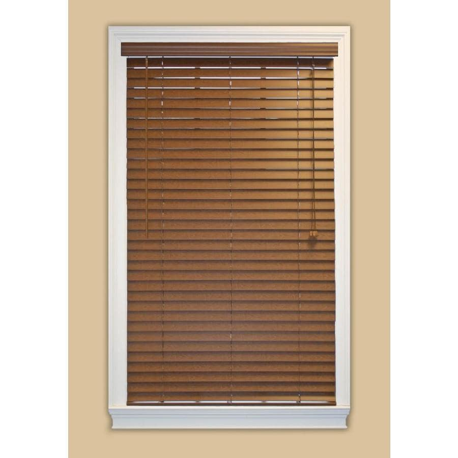 Style Selections 55.5-in W x 36-in L Bark Faux Wood Plantation Blinds