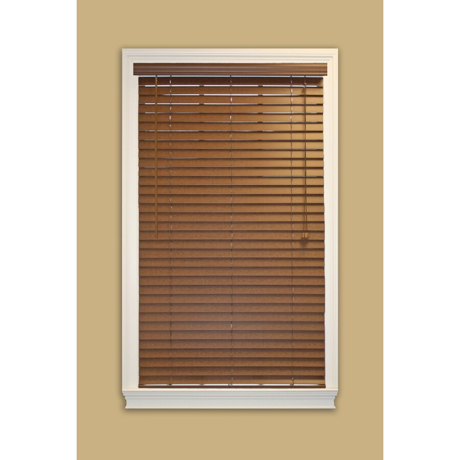 Style Selections 2-in Bark Faux Wood Room Darkening Plantation Blinds (Common 59-in; Actual: 58.5-in x 48-in)