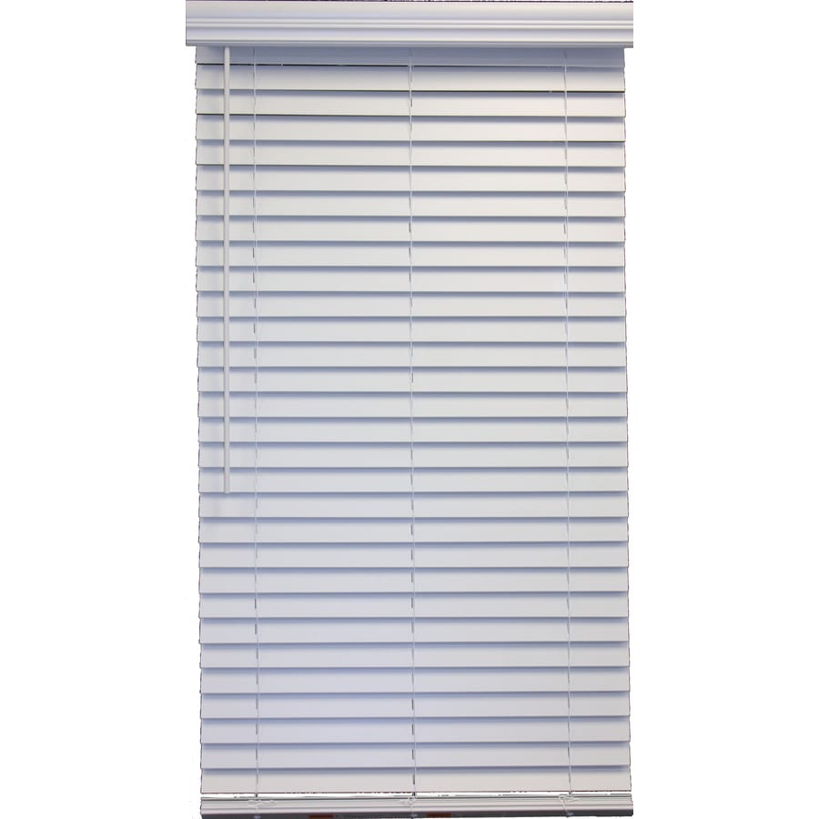 Style Selections 2-in Cordless White Faux Wood Room Darkening Plantation Blinds (Common 58-in; Actual: 57.5-in x 48-in)