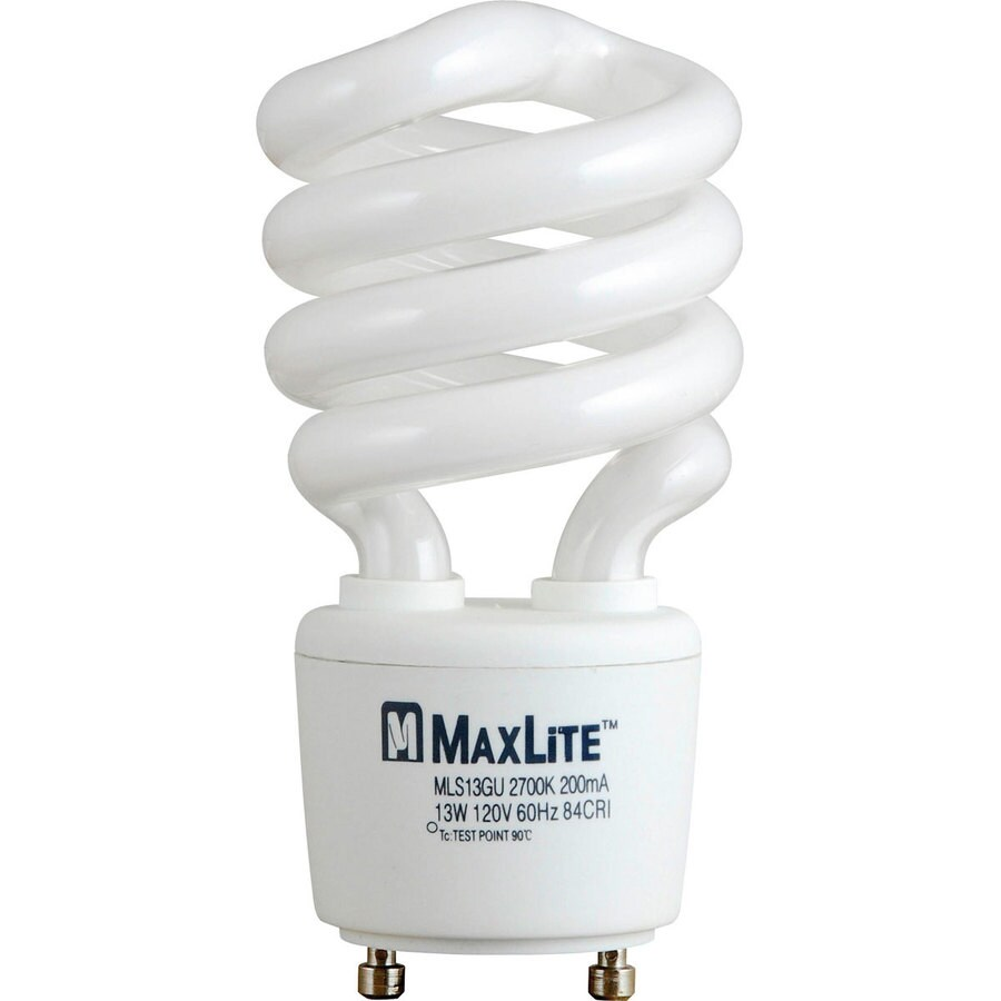 Shop Maxlite 13 Watt 60w Equivalent 2 700k Spiral Gu24 Pin Base Soft White Cfl Bulb Energy