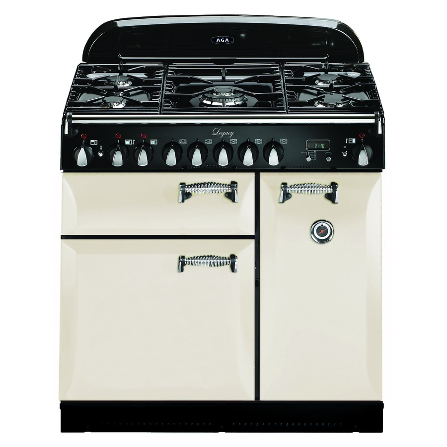 Shop aga legacy 36 in 5 burner 2 2 cu ft 1 8 cu ft double oven convection dual fuel range ivory - Gas stove double oven reviews ...