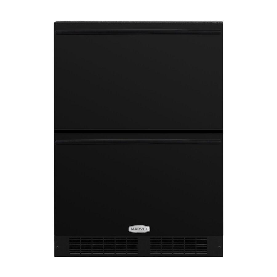 MARVEL 23.875-in Built-In/Freestanding Double Drawer Refrigerator (Black) ENERGY STAR