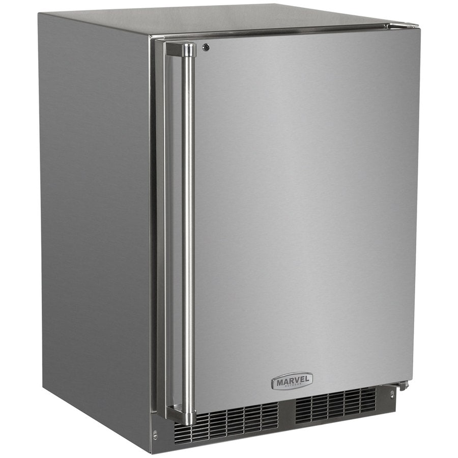 MARVEL Outdoor 4.9-cu ft Built-In Compact Refrigerator with Freezer Compartment (Stainless Steel)