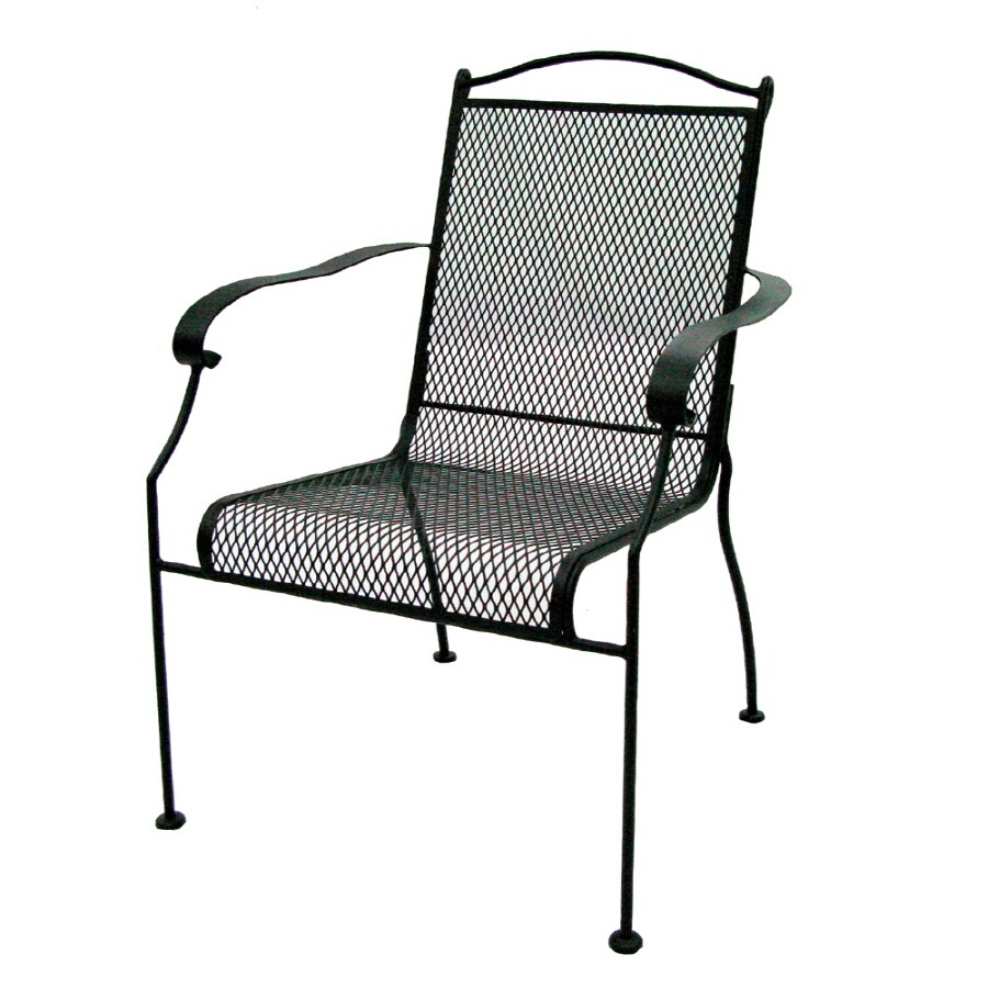 Garden Treasures Hanover Mesh-Seat Wrought Iron Patio Dining Chair