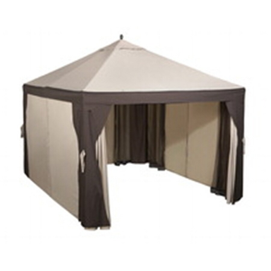 Shop Garden Treasures 10 Ft X 12 Ft Brown Steel Gazebo At