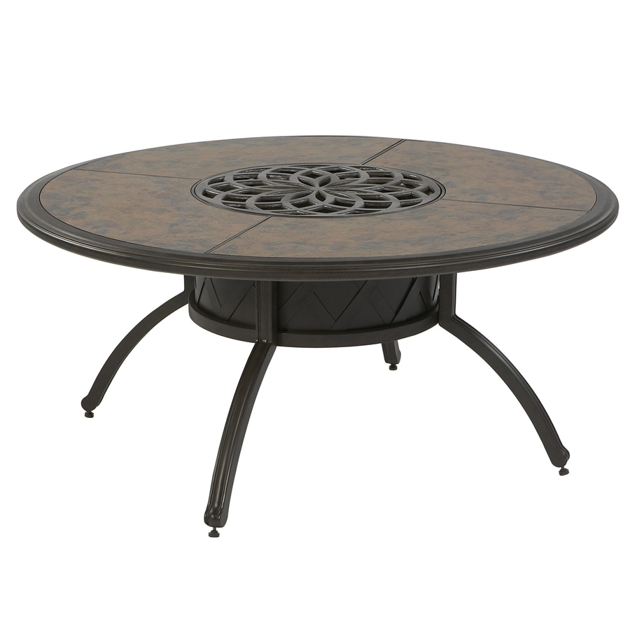 Shop Garden Treasures Willow Pass 42 In Tile Top Aluminum Frame Round Patio Coffee Table At