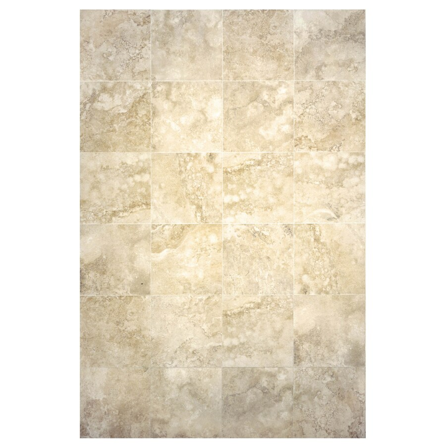 Interceramic Travertino Royal 10-Pack Ivory Ceramic Floor Tile (Common: 16-in x 16-in; Actual: 15.74-in x 15.74-in)