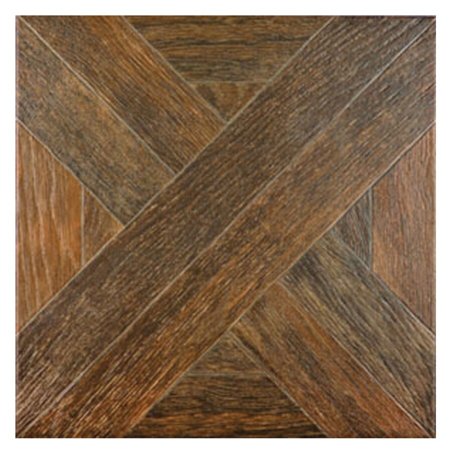 Style Selections Dargento Brown Wood Look Ceramic Floor Tile (Common: 20-in x 20-in; Actual: 19.63-in x 19.63-in)