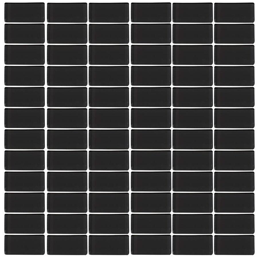 Interceramic Glassique Ebony Uniform Squares Mosaic Glass Wall Tile (Common: 12-in x 12-in; Actual: 11.81-in x 11.81-in)