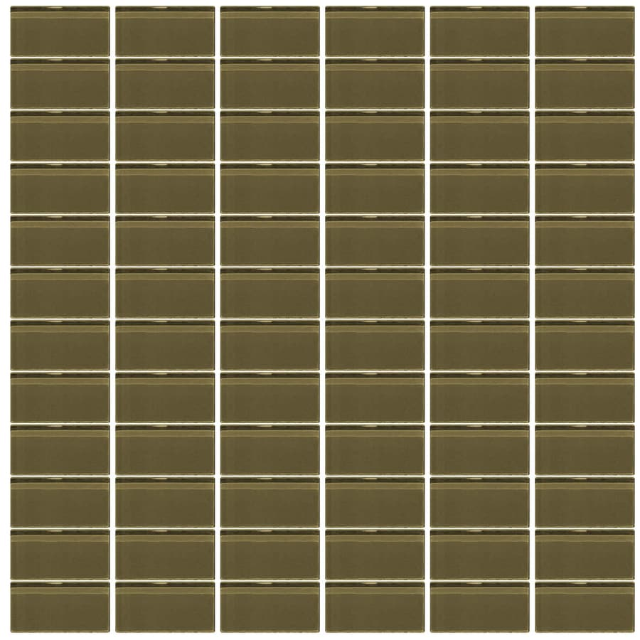 Interceramic Glassique Woodsy Uniform Squares Mosaic Glass Wall Tile (Common: 12-in x 12-in; Actual: 11.81-in x 11.81-in)