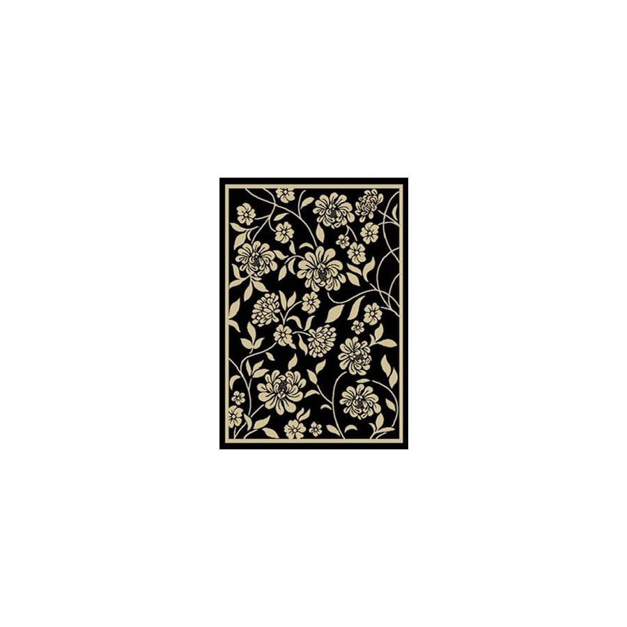 Home Dynamix Supreme 2S 4-ft 11-in x 6-ft 7-in Rectangular Black Floral Area Rug