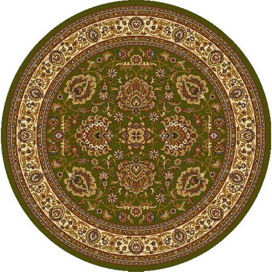 Home Dynamix Brussels Green and Ivory Round Indoor Woven Area Rug (Common: 5 x 5; Actual: 62-in W x 62-in L)