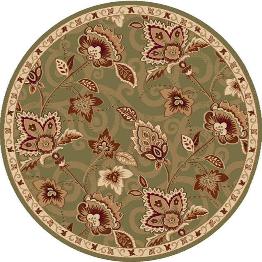 Home Dynamix Lisbon Green and Gold Round Indoor Woven Area Rug (Common: 8 x 8; Actual: 94-in W x 94-in L)