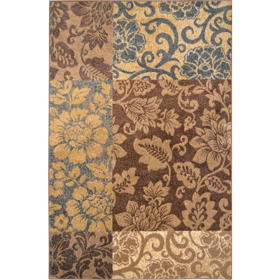Home Dynamix Reaction Brown and Blue Rectangular Indoor Woven Throw Rug (Common: 4 x 6; Actual: 39-in W x 55-in L)