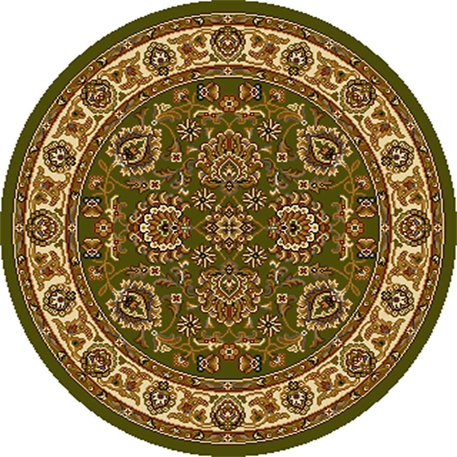 Home Dynamix Brussels Green and Ivory Round Indoor Woven Throw Rug (Common: 4 x 4; Actual: 39-in W x 39-in L)