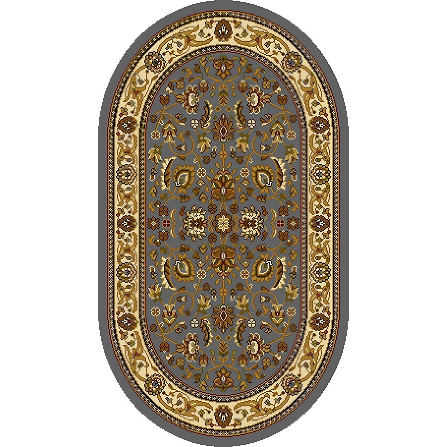Home Dynamix Brussels Blue and Ivory Oval Indoor Woven Throw Rug (Common: 2 x 4; Actual: 31.4-in W x 51.1-in L)