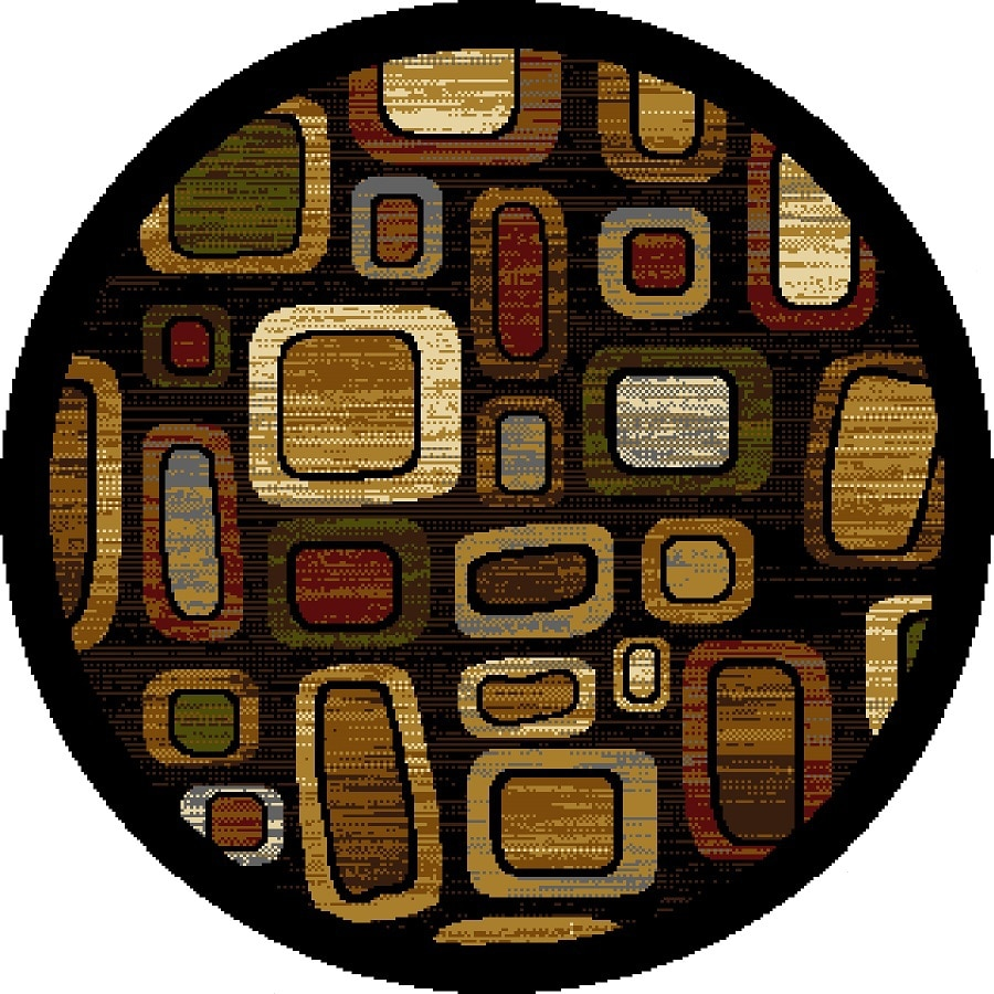 Home Dynamix Montreal Black and Multicolor Round Indoor Woven Area Rug (Common: 5 x 5; Actual: 62-in W x 62-in L)